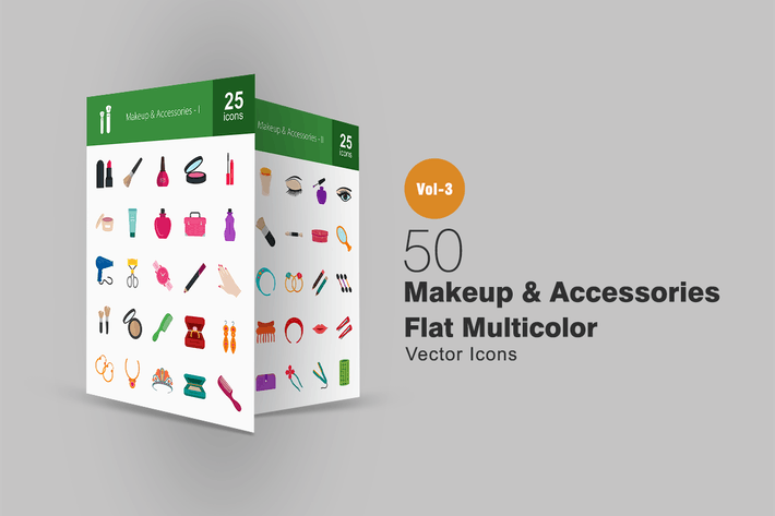 Thumbnail for 50 Makeup & Accessories Flat Multicolor Icons