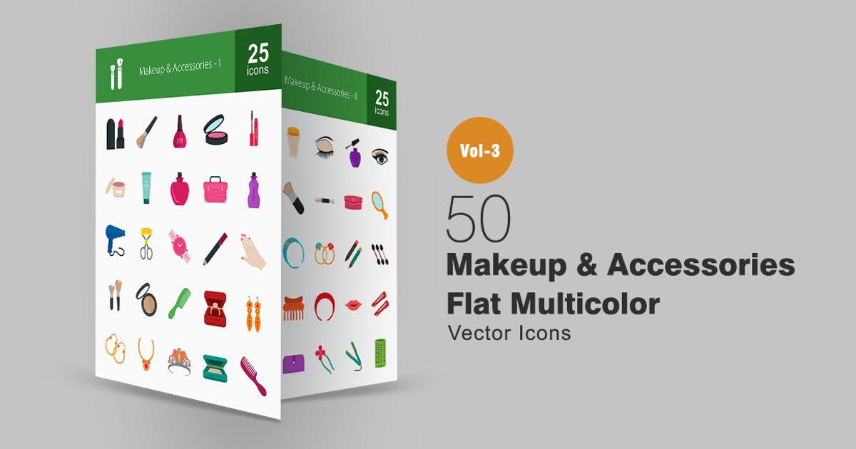 Download 50 Makeup & Accessories Flat Multicolor Icons by IconBunny