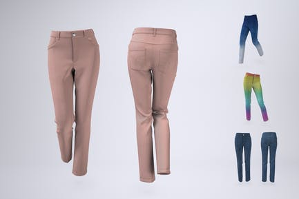 Woman's Denim Jeans or Trousers Mock-Up