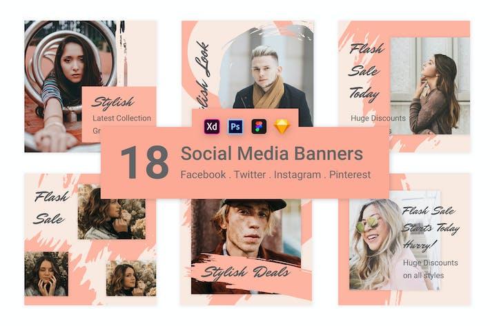 Thumbnail for 18 Social Media Banners Kit (Vol. 7)