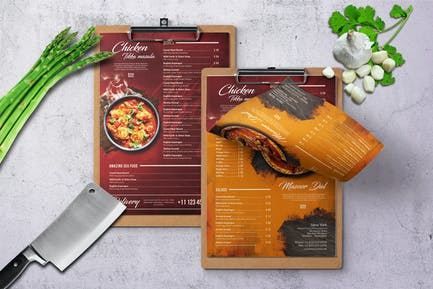 Curry Indian A4 & US Letter Single Page Food Menu