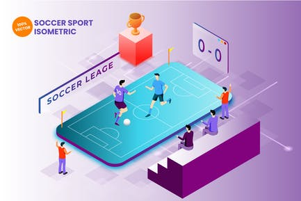 Isometrische Fußballsport-Vektor Illustration