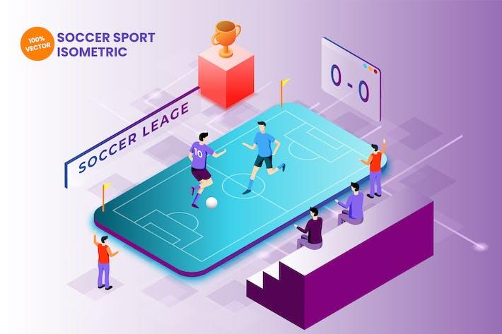 Thumbnail for Isometric Soccer Sport Vector Illustration