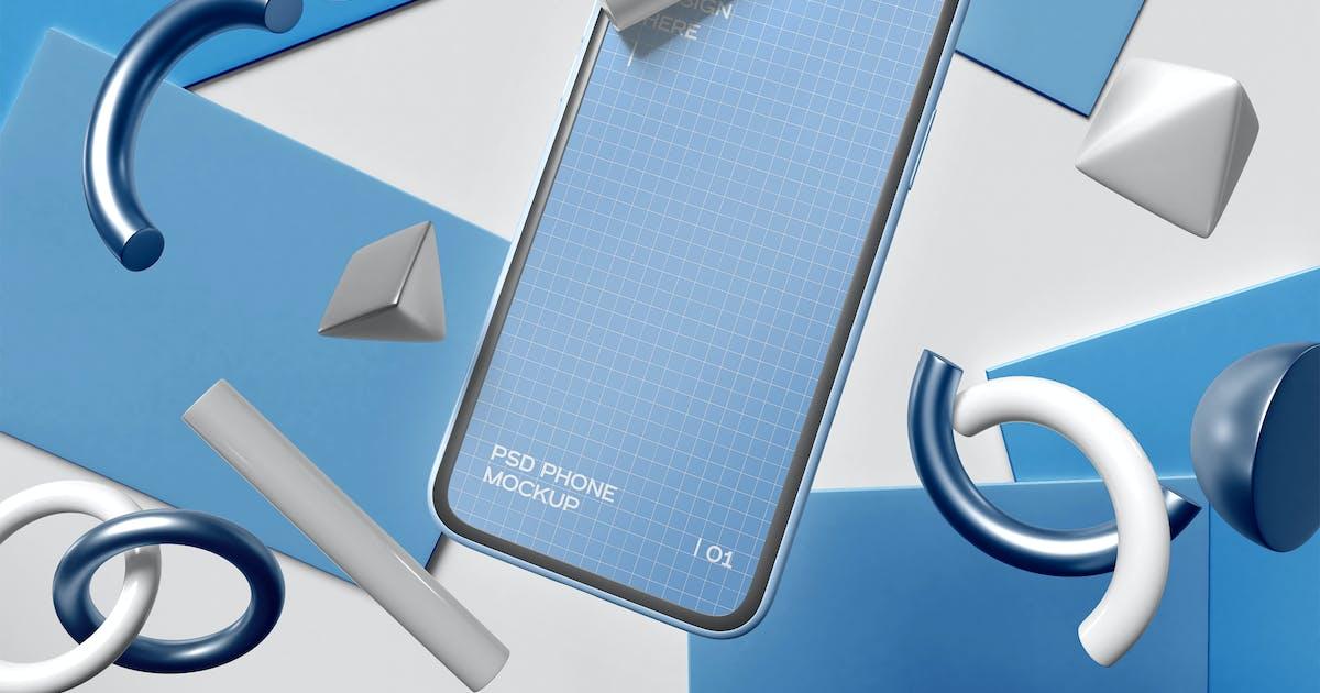 Download Smartphone On Geometric Background Mockup by megostudio