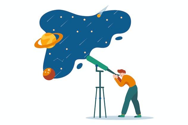 Space observation via telescope