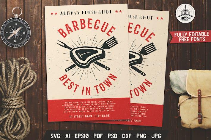 Thumbnail for Barbecue Barbecue dépliant Modèle d'affiche pour barbecue d'été