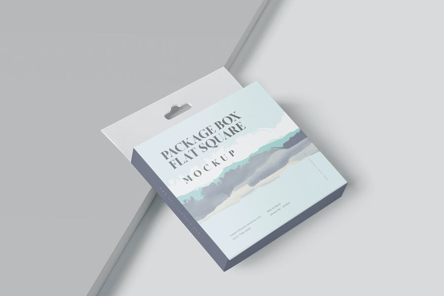 Package Box Mockup - Flat Square with Hanger