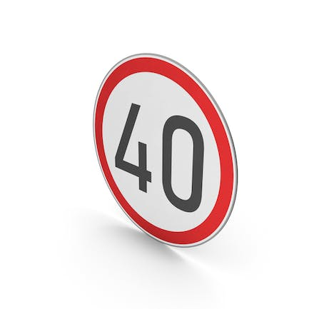 Road Sign Speed Limit 40