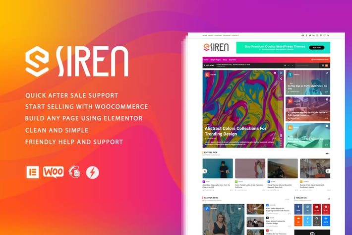 Thumbnail for Siren - News Magazine Elementor WordPress Theme