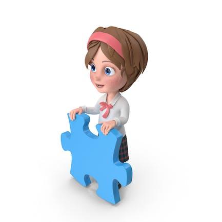 Cartoon Mädchen hält Puzzle-Stück