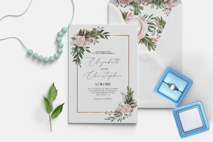 Thumbnail for Blush Green Wedding Invitation Template