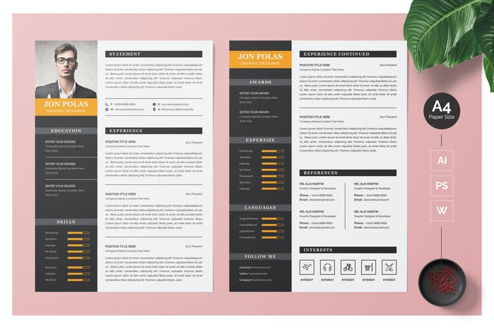 Cover Image For Elegant Resume CV Template
