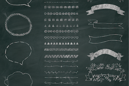 Separate PNG Chalk Drawing Elements