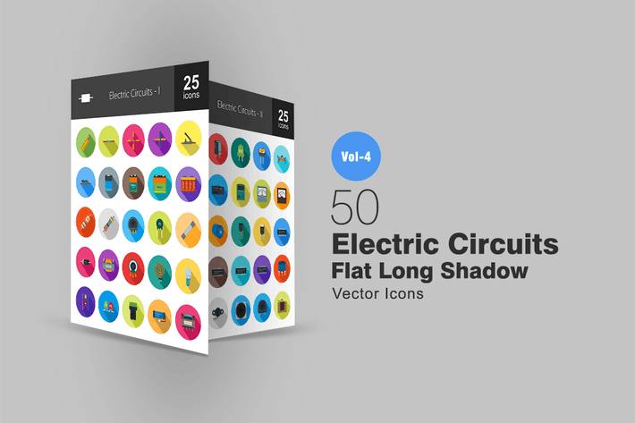 Thumbnail for 50 Electric Circuits Flat Shadowed Icons