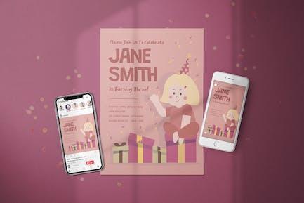 Birthday Girl Invitation - Flyer Media Kit