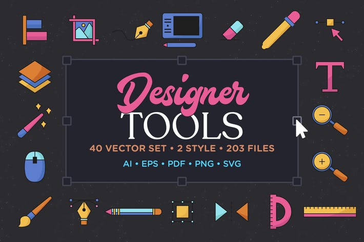 Designer Tools Vector Icon Set