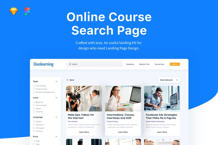 Thumbnail for Online Course - Seach Page UI Website