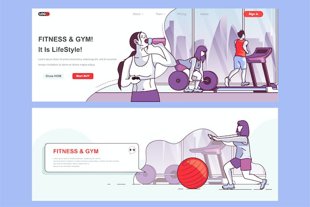 Fitness Gym Header Footer or Middle Content