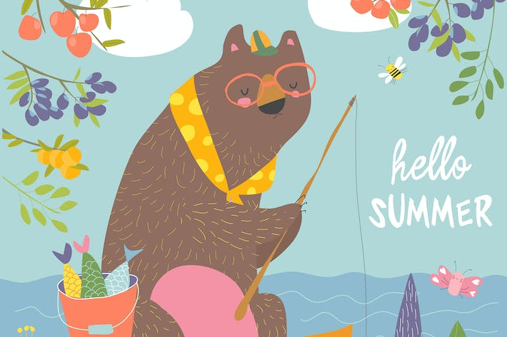 Thumbnail for Cute bear catches a fish on a fishing rod. Vector