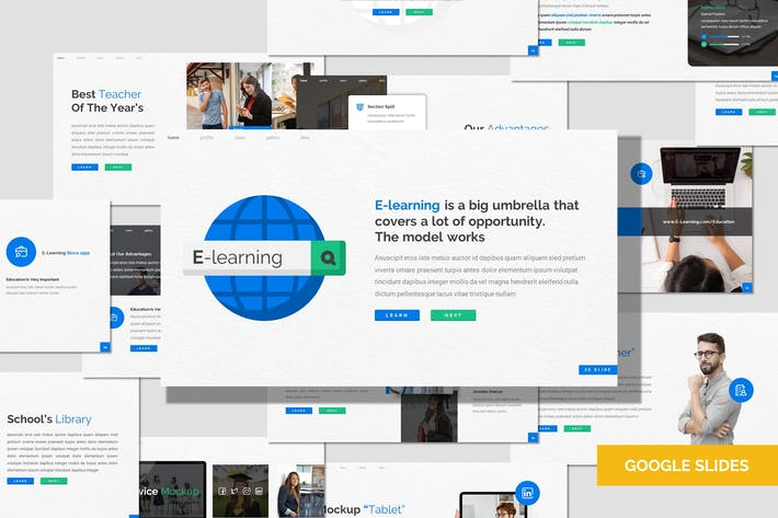 Thumbnail for E Learning - Education Google Slides Template