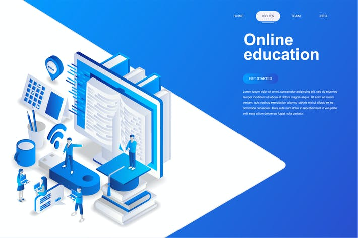 Cover Image For Online Education Isometric Concept
