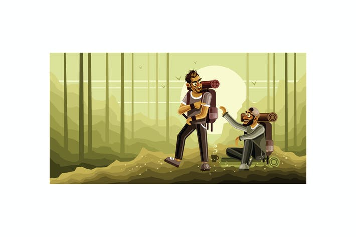 Thumbnail for Camping Together Vector Graphics Illustration