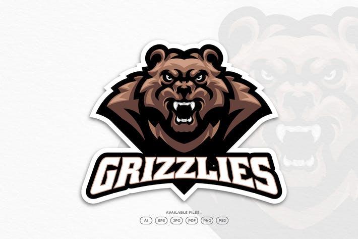 Angry Grizzly Bear Roaring Sport and Esport Mascot