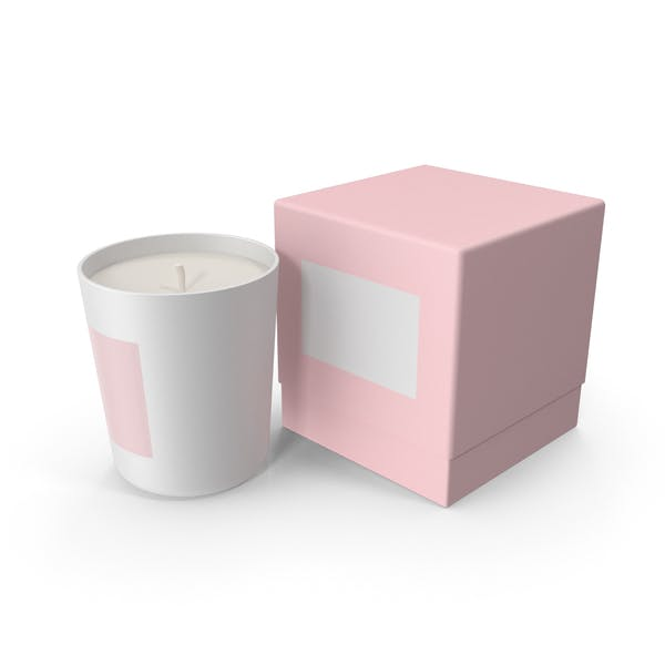 White Candle with Pink Box