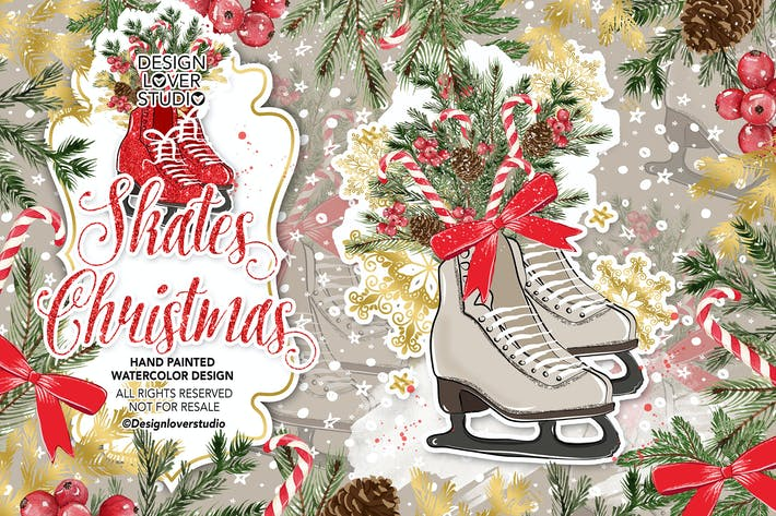 Thumbnail for Skates Christmas design