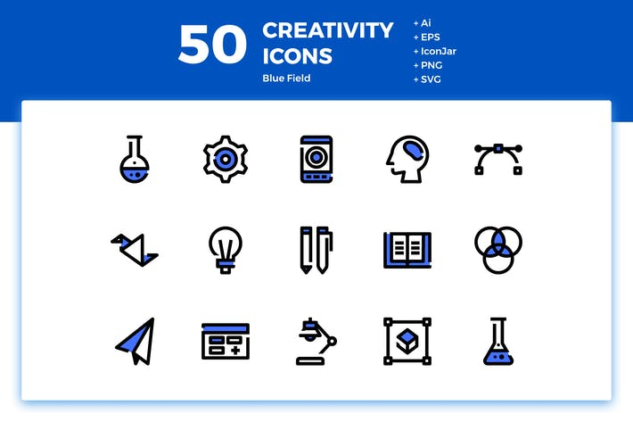 Thumbnail for 50 Creativity Icons (Blue Field)