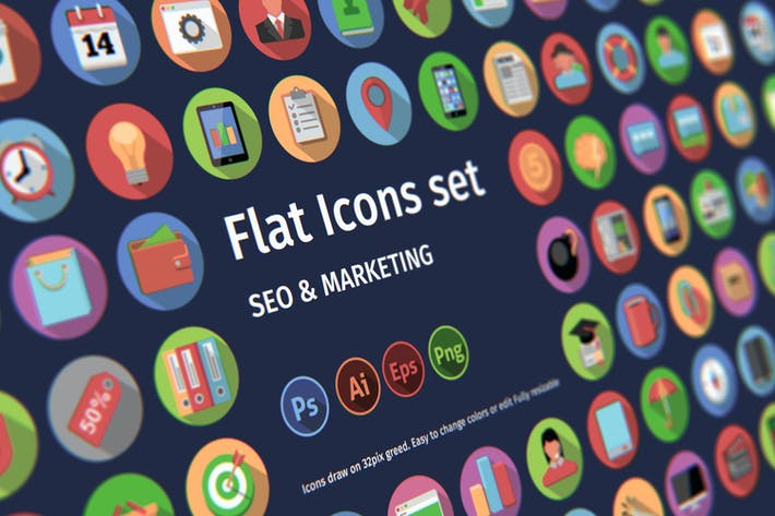 Thumbnail for Flat icons: SEO & MARKETING