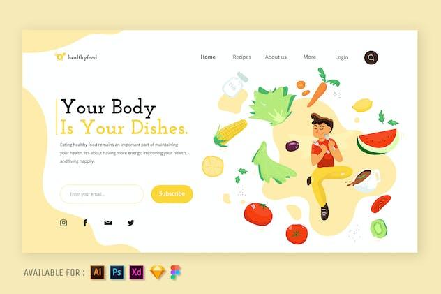 Good Food Good Mind  - Web Illustration