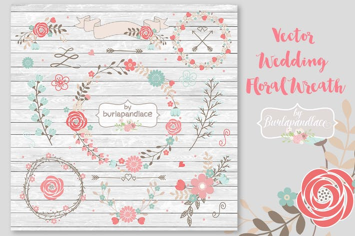 Thumbnail for Vector Wedding Floral Wreath