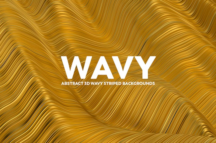 Thumbnail for Abstract 3D Wavy Striped Backgrounds - Gold Color