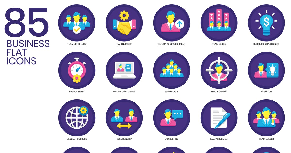 Download 85 Business Icons | Orchid Series by Krafted