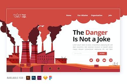 Fabriken und Umweltverschmutzung - Flache Illustration