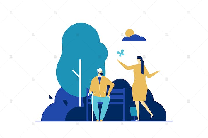 Woman and old manin the park flat illustration