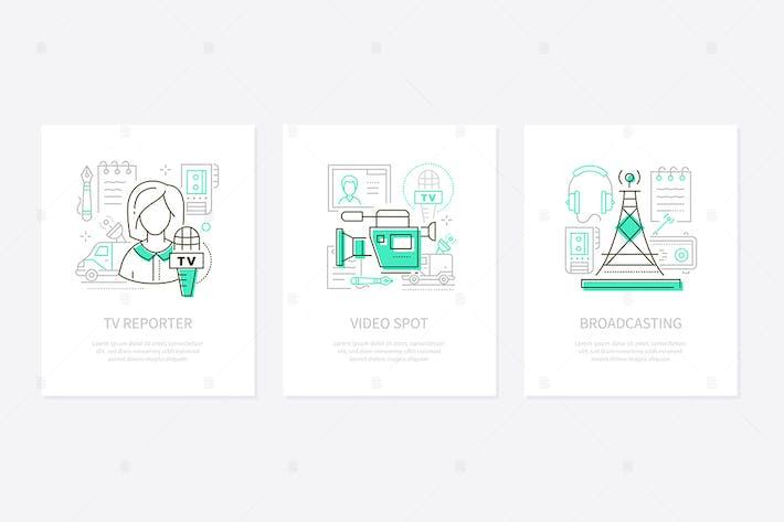 Thumbnail for Средства массовой информации - набор баннеров в стиле линейного дизайна