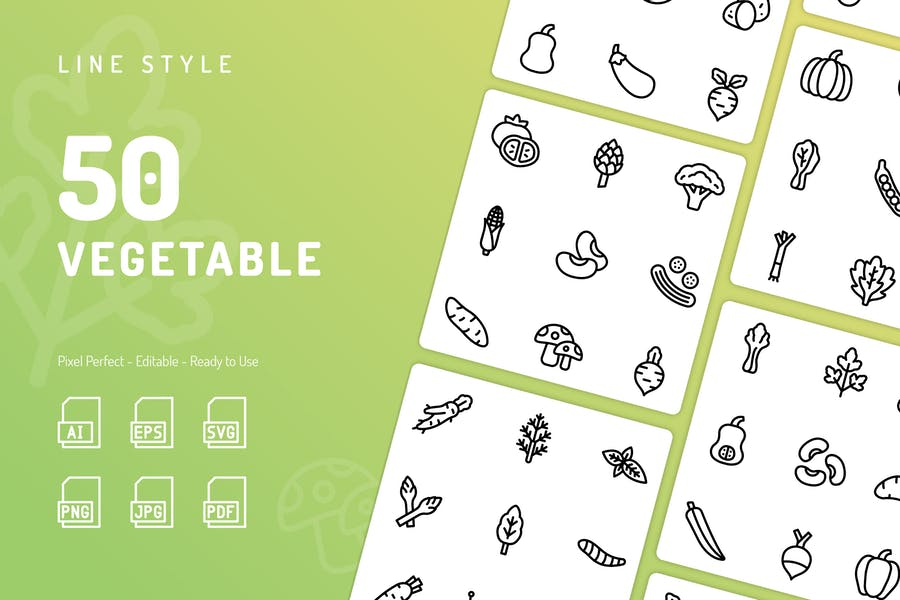 Vegetable Line Icons