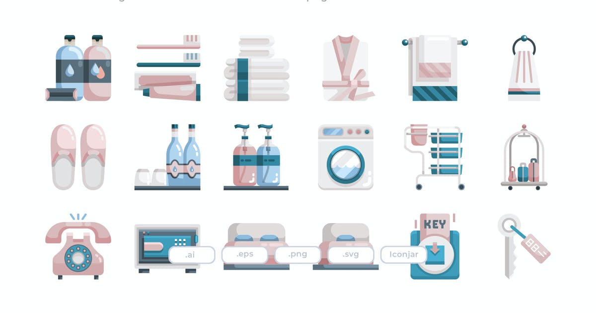 Download 30 Hotel Essential Icons - Flat by Justicon