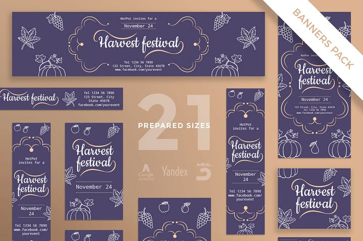 Thumbnail for Harvest Festival Banner Pack Template