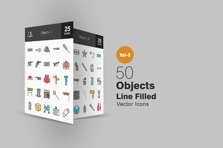 Cover Image For 50 Objects Line Filled Icons