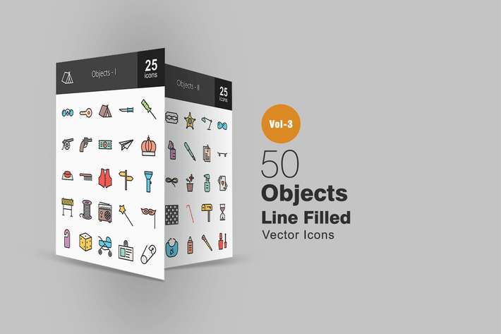 Thumbnail for 50 Objects Line Filled Icons