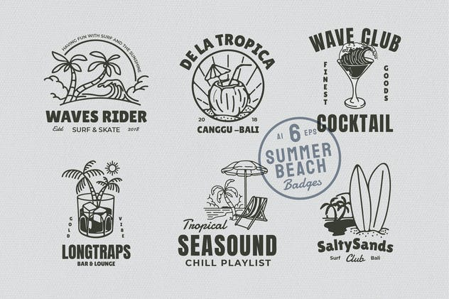 6 Summer Beach Badges