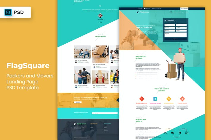 Thumbnail for Packers and Movers - Landing Page PSD Template-02
