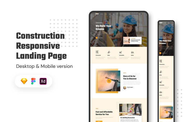 Thumbnail for Construction Responsive Landing Page
