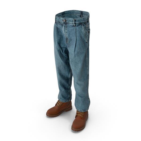Men's Boots Jeans 10 Dark Blue Brown