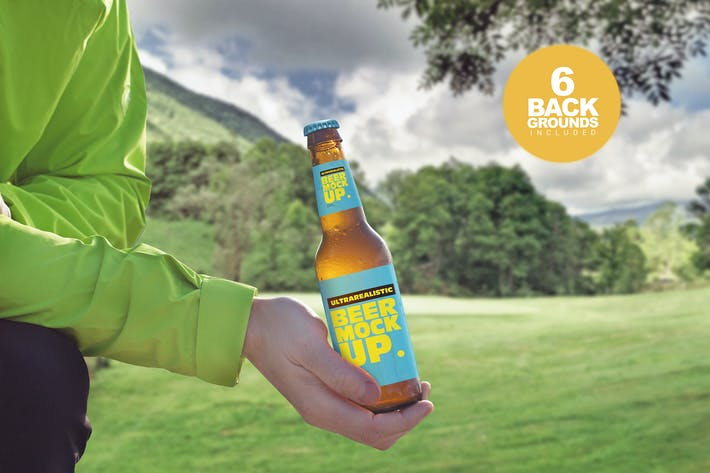 Mountain Backgrounds Beer Mockup