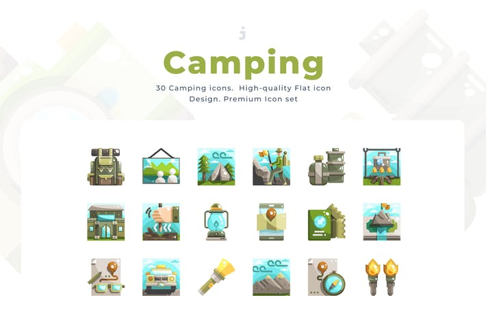 Thumbnail for 30 Camping Icon Set - Flat