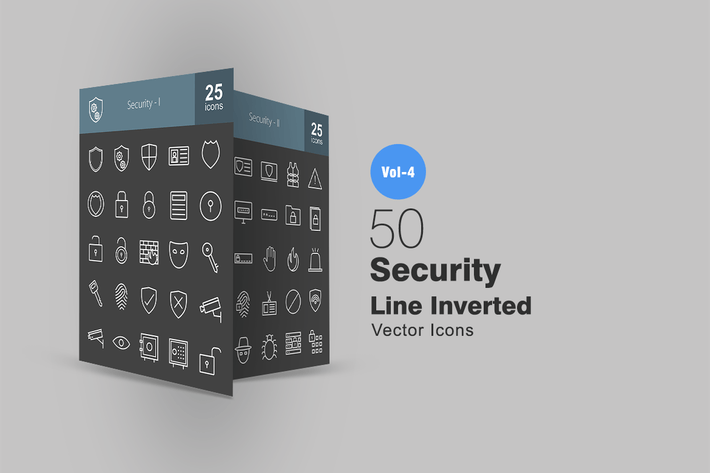 Thumbnail for 50 Security Line Inverted Icons